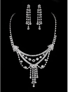 Jóias (Gorgeous Czech Rhinestones Alloy Plated Wedding Bridal Necklace And Earrings Jewelry Set 011005474)