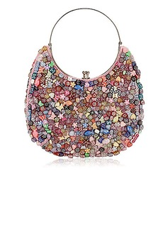 Pretty Cotton with Multicolor Acryl Shapes Evening Handbag/Wristlet (012025189)