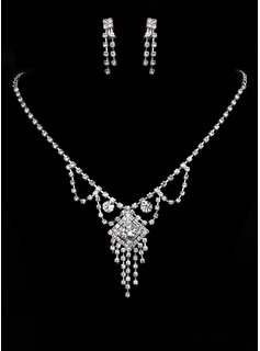 Jóias Shining Czech Rhinestones With Alloy Plated Wedding Jewelry Set,Including Necklace And Earrings (011005478)