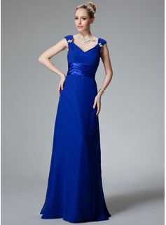 A-Line/Princess V-neck Floor-Length Chiffon Charmeuse Bridesmaid Dress With Ruffle Beading