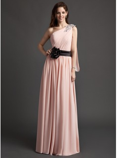 A-Line/Princess One-Shoulder Floor-Length Chiffon Charmeuse Evening Dress With Ruffle Sash Flower(s) Sequins