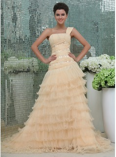 A-Line/Princess One-Shoulder Cathedral Train Chiffon Organza Prom Dress With Lace Beading Cascading Ruffles