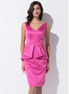 Sheath/Column V-neck Knee-Length Satin Cocktail Dress With Cascading Ruffles