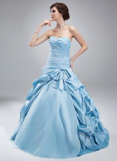 De baile Coração Longos Tafetá Tule Vestido quinceanera com Pregueado Bordado