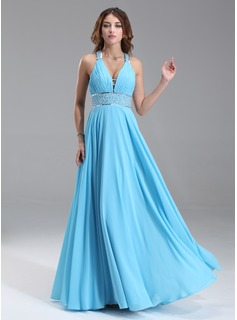 A-Line/Princess V-neck Floor-Length Chiffon Prom Dress With Ruffle Beading Sequins (018004867)