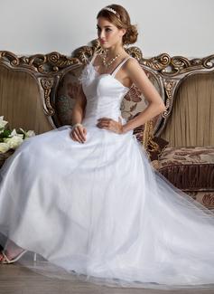 Corte A/Princesa Escote corazón Cola corte Tul Vestido de novia con Volantes Flores