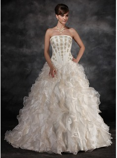 Ball-Gown Strapless Sweep Train Organza Charmeuse Wedding Dress With Beadwork (002016934)
