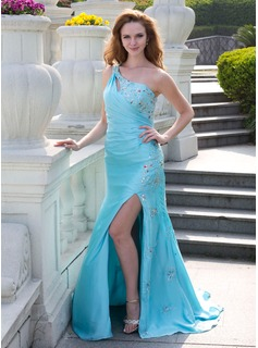 Sheath One-Shoulder Chiffon Prom Dress With Ruffle Beading (018024649)