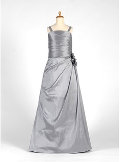 A-Line/Princess Floor-Length Taffeta Junior Bridesmaid Dress With Ruffle Flower(s) (009016202)