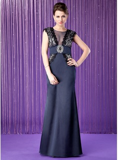 A-Line/Princess Scoop Neck Floor-Length Satin Tulle Mother of the Bride Dress With Lace Beading Sequins