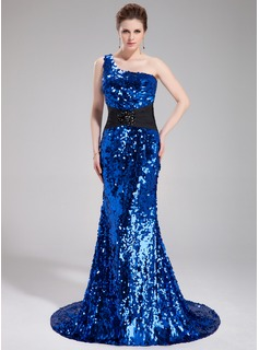 Mermaid One-Shoulder Court Train Charmeuse Sequined Prom Dress With Sash Beading (018018917)