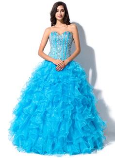 Corte de baile Escote corazón Hasta el suelo Organdí Satén Vestido de quinceañera con Bordado Lentejuelas