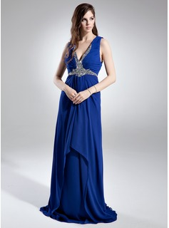 A-Line/Princess V-neck Sweep Train Chiffon Evening Dress With Ruffle Sequins