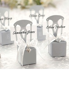 Silver Chair Style Favor Box With Heart Charm And Ribbon (Set of 12) (050005517)