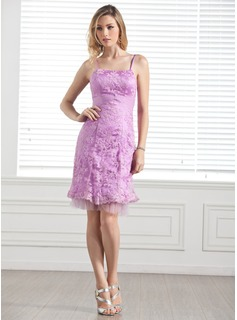 Sheath Knee-Length Tulle Charmeuse Lace Bridesmaid Dress (007005289)