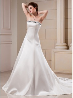 A-Line/Princess Strapless Chapel Train Satin Wedding Dress With Embroidery Beading