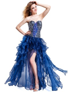A-Line/Princess Sweetheart Floor-Length Organza Prom Dress With Beading Sequins Cascading Ruffles