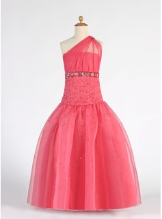 A-Line/Princess One-Shoulder Floor-Length Organza Flower Girl Dress With Ruffle Beading Sequins (010007333)