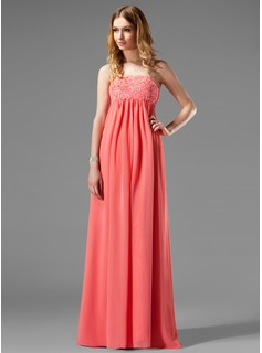 Empire Strapless Floor-Length Chiffon Maternity Bridesmaid Dresses With Lace (045022466)