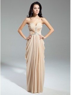 Sheath Sweetheart Floor-Length Chiffon Evening Dress With Ruffle Beading (017014904)