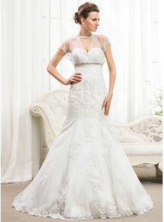 Trumpet/Mermaid Scoop Neck Sweep Train Tulle Lace Wedding Dress With Ruffle Beading Sequins