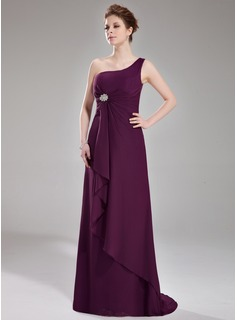 A-Line/Princess One-Shoulder Sweep Train Chiffon Bridesmaid Dress With Ruffle Crystal Brooch (007004139)