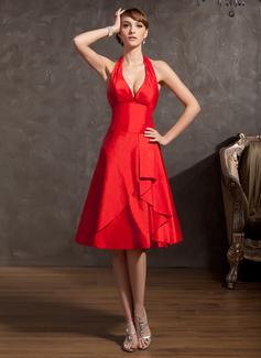 A-Line/Princess Halter Knee-Length Taffeta Homecoming Dress With Cascading Ruffles