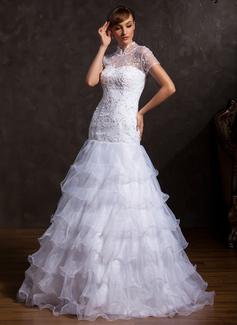 A-linjeformat Hög hals Golv-längd Organzapåse Tyll Bröllopsklänning med Spetsar Pärlbrodering Svallande Krås