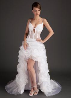 A-Line/Princess V-neck Asymmetrical Organza Prom Dress With Lace