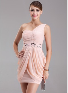 Sheath/Column One-Shoulder Short/Mini Chiffon Cocktail Dress With Ruffle Beading