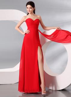 Sheath/Column Sweetheart Floor-Length Chiffon Evening Dress With Ruffle Split Front