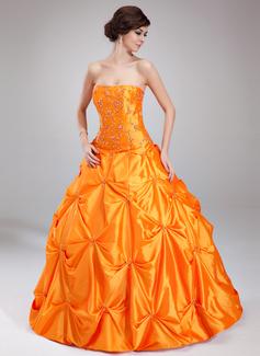 Corte de baile Escote corazón Vestido Tafetán Vestido de quinceañera con Volantes Bordado