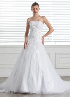 Corte A/Princesa Escote corazón Cola capilla Satén Tul Vestido de novia con Encaje Bordado