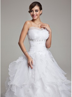 Ball-Gown Scalloped Neck Chapel Train Organza Wedding Dress With Ruffle Beadwork