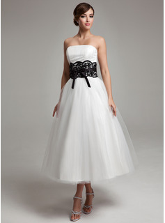 A-Line/Princess Strapless Tea-Length Satin Tulle Wedding Dress With Lace Sash Beading