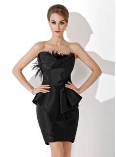 Sheath Scalloped Neck Knee-Length Taffeta Cocktail Dress With Ruffle Feather