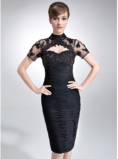 Sheath/Column High Neck Knee-Length Chiffon Tulle Mother of the Bride Dress With Ruffle Lace Beading