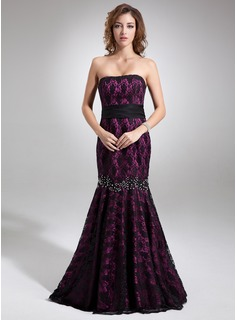 Mermaid Strapless Sweep Train Charmeuse Lace Evening Dress With Beading (017016745)