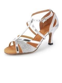 De mujer Brillo Chispeante Piel brillante Tacones Sandalias Danza latina Salsa Matrimonio Partido con Tira T Zapatos de danza