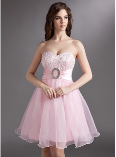 Empire Sweetheart Knee-Length Organza Charmeuse Homecoming Dress With Lace Beading Sequins Bow(s)