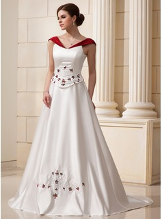 A-Line/Princess Off-the-Shoulder Court Train Satin Wedding Dress With Embroidery Sashes Beadwork Flower(s) (002011760)