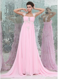 Empire Square Necklin Watteau Train Chiffon Evening Dress With Ruffle Lace (017017403)