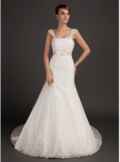 Mermaid Chapel Train Satin Lace Wedding Dress With Sashes (002015559)