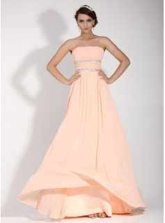 A-Line/Princess Strapless Floor-Length Chiffon Holiday Dress With Ruffle Beading (020016074)