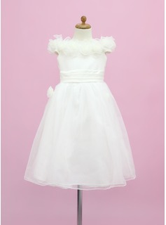 A-Line/Princess Off-the-Shoulder Floor-Length Organza Satin Flower Girl Dress With Flower(s) (010005338)