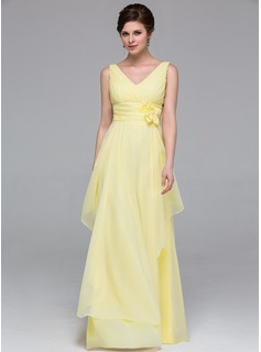 A-Line/Princess V-neck Floor-Length Chiffon Bridesmaid Dress With Flower