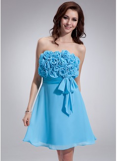 Empire Strapless Short/Mini Chiffon Homecoming Dress With Ruffle Flower(s) Bow(s)