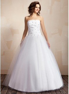 Ball-Gown Strapless Floor-Length Taffeta Tulle Wedding Dress With Ruffle Beadwork (002000041)