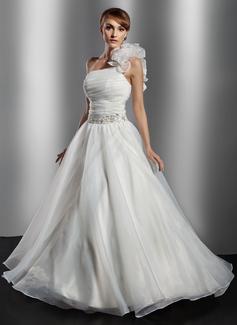 Corte de baile Un sólo hombro Vestido Organdí Vestido de novia con Volantes Bordado Flores Lentejuelas