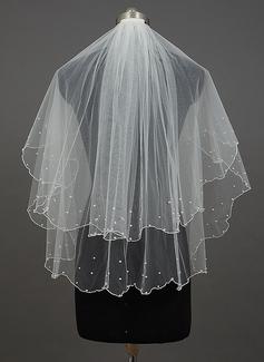 Dos capas Yema del dedo velos de novia con Borde en perla/Recortada